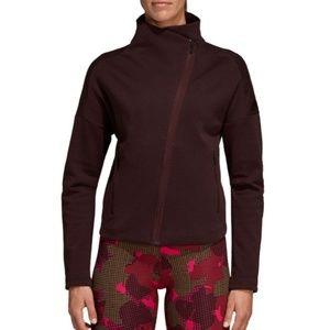 Adidas Mock Neck Asymmetric Zip Jacket Maroon
